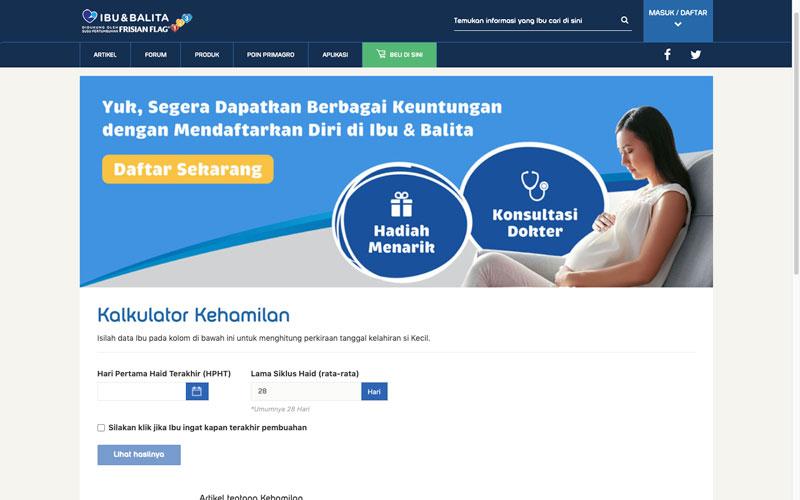 kalkulator kehamilan di website Ibu dan balita