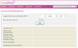 kalkulator kehamilan di website Luvizhea.com